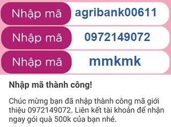 Mã ưu đãi Momo nhận 999K: 0972149072, mmkmk, agribank00611